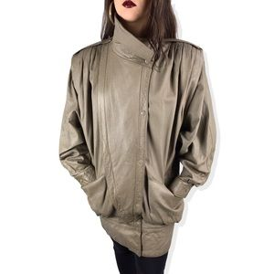 1970's taupe leather batwing jacket